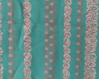 Fine Grasshopper Green Vintage Silk Fabric 40s Striped Red and Gold Asian Motif Light Weight Mid Century Cute Bright Fun