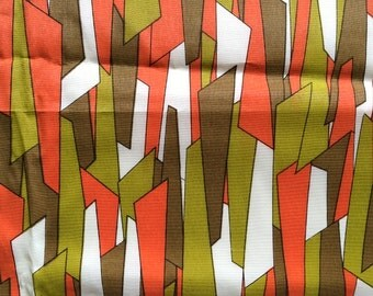 2.5 Yards 50s Vintage Mid Century Modern Graphic Print Rayon Fabric Graphic Atomic Style Home Decor Cute Bright Fun!