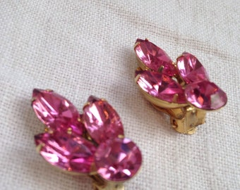 Vintage Pink Marquise Rhinestone Earrings
