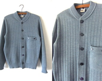 Mr. Rogers Style Ribbed Cardigan Sweater - Heather Blue Button Down Shawl Neck Sweater - Mens Small