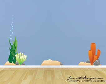 Ocean Coral and Plant Fabric Wall Decals,Under the Sea Wall Stickers,Removable and Repositionable Fabric Stickers