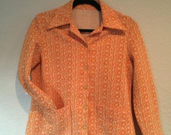 1960's orange floral coat with pockets