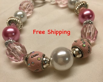 Handmade Pink Bracelet With Silver Accents European Style Chunky Bead Bracelet 8.5 Inches