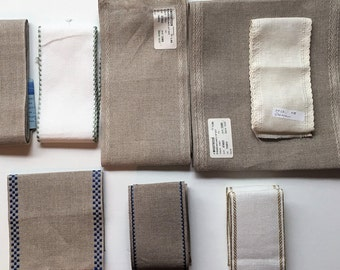 8 Piece Lot of Linen Banding (7 linen, 1 aida) for Cross Stitch Embroidery/ Needlework, Assorted Counts & Sizes, for Bellpull etc. Mill Hill