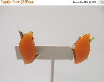 ON SALE Vintage Tangerine Orange Earrings Item K # 2795