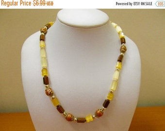 ON SALE Vintage Geometric Earth Tone Beaded Necklace Item K # 2358