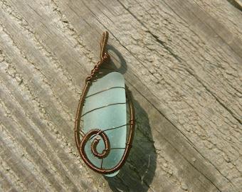 Sea glass pendant gift, genuine sea glass aqua sea foam, brown copper wire, Birthday gift jewelry, wire wrapped pendant, stone pendant