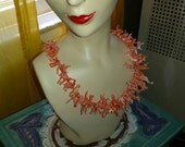 Vintage Salmon Coral Branch Necklace