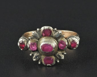 Reserved for T. - A rare mid 1700 Georgian natural ruby and diamond stunning ring