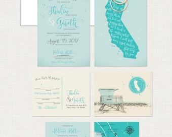 Destination Wedding Invitation California Beach Illustrated Wedding  Invitation Newport Coast Huntington Beach Los Angeles   Deposit