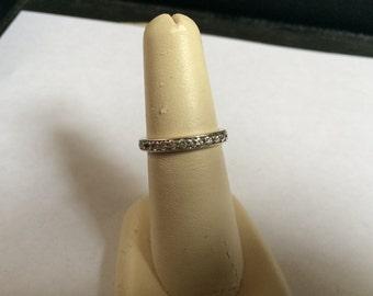 Vintage 925 Sterling Silver CZ Design Ring, Size 6.5