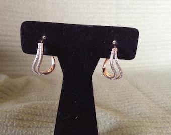 Vintage Goldtone Sterling Silver Rhinestone Hoop Earrings