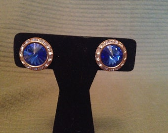 Vintage Goldtone Blue and White Gemstone Earrings
