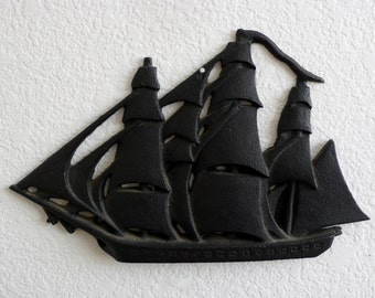 Vintage Cast Iron Sailing Ship / Schooner / Wall Art / Sailboat / Nautical Wall Hanging
