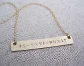 The Roman Numeral Bar - Gold Bar Necklace - Gold Nameplate Necklace