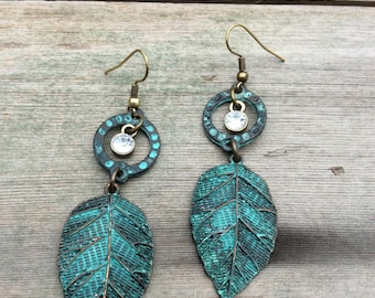 Patina Leaf Earrings/Dangle Earrings/Boho/Hippie/Nature