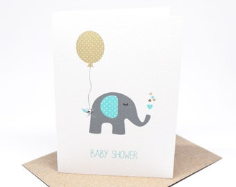 Baby Shower Card - Boy - Blue and Grey Elephant with Tan Balloon - BBYSHW020 / Expectant Mother Baby Card
