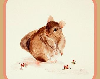 original painting,  watercolor art,  small format art,  six inch square,  Chinchilla painting,