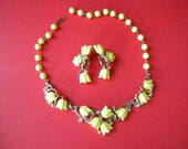 Vintage 2 Piece Yellow Tulip Thermoset Rhinestone Necklace Set