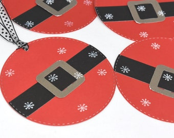 4 Santa Holiday Gift Tags in Red and Black