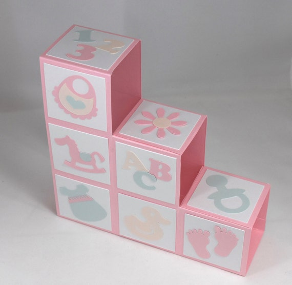 3d pink baby blocks shower invitations or baby announcements for baby