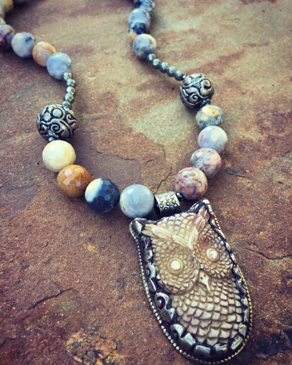 Agate and Pyrite Owl Boho Statement Necklace and Earring Set