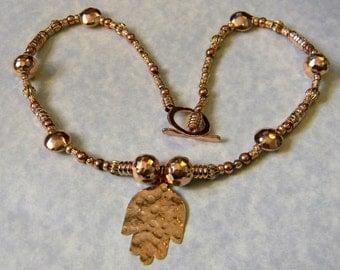 Rose Gold and Copper Hamsa Pendant Necklace