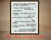 Game of Thrones Night's Watch oath cross stitch sampler PDF pattern