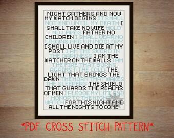Game of Thrones Night's Watch oath cross stitch sampler PDF pattern