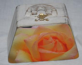 yellow rose wooden photo purse box