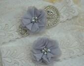 Wedding  Garter Set / shabby flower Garter / Pearl Garter / Rhinestone Garter / Garter Belt / Silver Garter
