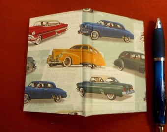 """Hand-marbled Memo pad holder with replaceable pad: """"Vintage Cars"""".  Pocket-sized to carry everywhere for notes, lists, thoughts, ideas."""