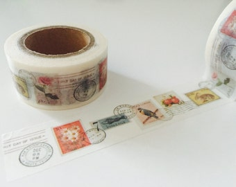 Flora and Fauna Postage Stamp Washi Tape