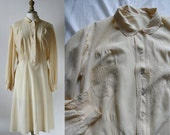 Vintage 1940's Silk Dress long sleeves, embroidered, off-white color.