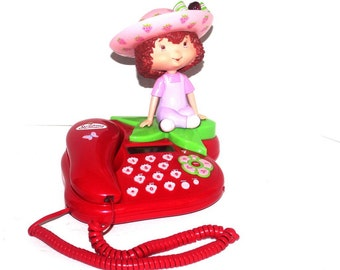 1990s Retro Strawberry Shortcake Corded Telephone with Doll, Strawberry Phone, Antique Alchemy
