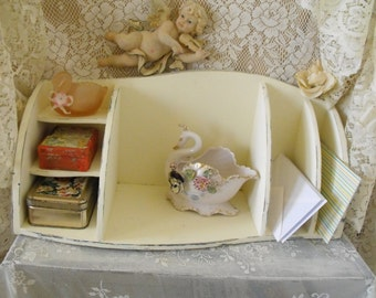 Vintage Desk Organizer - Shabby Chic - pigeon holes desk top storage - French Farmhouse - Annie Sloan Old White cha