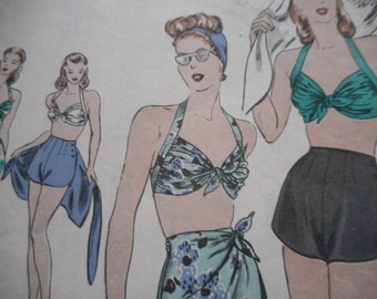 Vintage 1940's Vogue 5392 Bathing Suit and Wrapped Skirt Sewing Pattern, Size 16 Bust 34