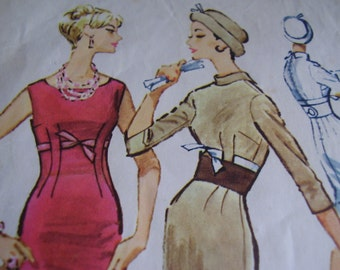 Vintage 1950's McCall's 4811 Dress and contour Belt Sewing Pattern, Size 14, Bust 34