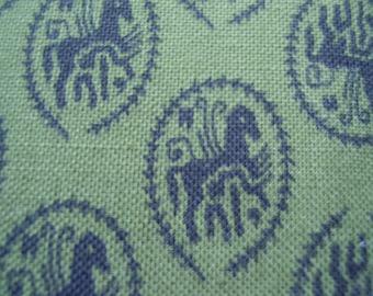 Vintage 1950's, 60's Dark Olive Green Black Horses Pattern Fabric, 2 yards plus