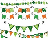 St. Patrick's Day Bunting Clip Art Set - green orange printable digital clipart - instant download