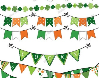 St. Patrick's Day Bunting Clip Art Set - green orange printable digital clipart - instant download