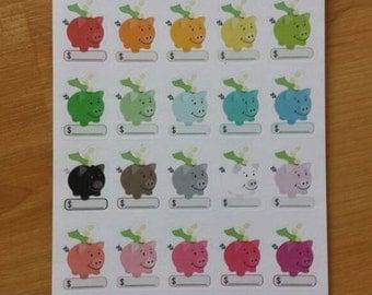 Money savings piggy bank planner stickers
