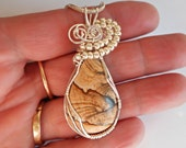 Wire Wrapped Pendant, Owyhee Picture Jasper, Jewelry, Handmade