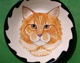 "PET PORTRAIT BOWL-7""- Your Cat or Dog handpainted on a bowl"