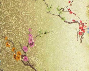 Chinese brocade fabric golden tone basic with multi colors blossom Embroidery Embroidered Dress Material By 0.5 or Full Yard Meter (cbs-528)