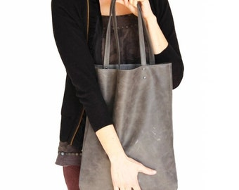 Grey leather tote, women leather bag, premium distressed leather bag