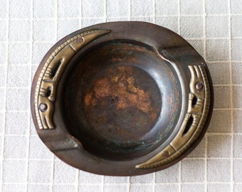 Vintage Copper and Brass Crocodile Ashtray,