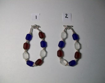 Patriotic red white and blue seaglass bracelet, free shipping in US