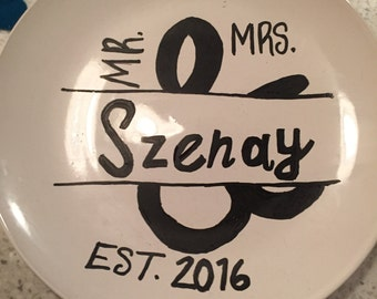 Personalized Mr & Mrs Plate