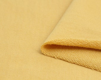 Mustard French Terry Knit Fabric, Cotton French Terry Knit, Stretchy Fabric - Mustard - 70 Inches Wide - By the Yard 69289 GJ